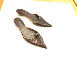 Lola cruz Heel Pantolettes dark brown-gold-colored