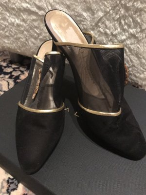 David Jones Heel Pantolettes black suede