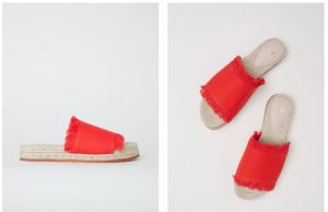 H&M Mules red cotton