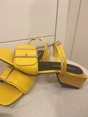Heel Pantolettes yellow imitation leather