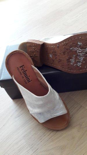 Pantolette  - NEU - aus Leder von FELMINI, silber,  Größe 37