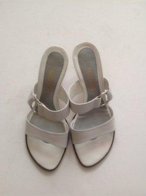 Pantolette, Sandaletten Leder weiß Gr 36