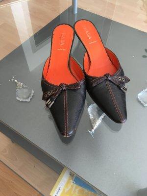 Pantolette Schuhe mit Pfennig Absätze