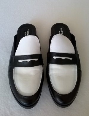 Pantolette schwarz/weiß Glattleder