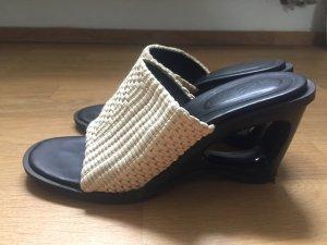 Hogan Sandalo con tacco marrone scuro-sabbia Pelle