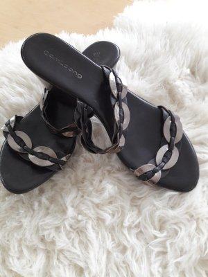 Sandalo con tacco marrone-oro Finta pelle