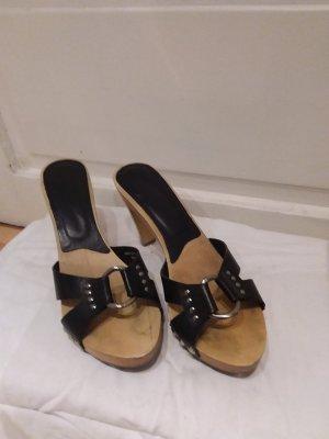 Zara Heel Pantolettes black-light brown