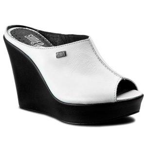 Heel Pantolettes white-black