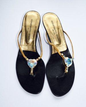 Konstantin Starke Heel Pantolettes black-gold-colored leather