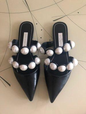 Zara Zuecos negro-blanco Imitación de cuero