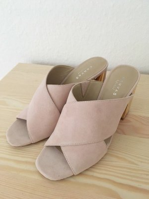 Lands' End Heel Pantolettes pink-gold-colored leather