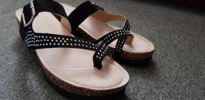 Sandalo toe-post nero