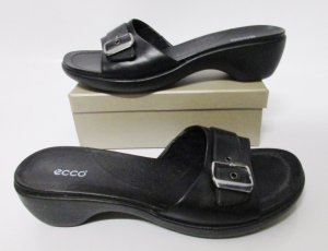 Ecco Heel Pantolettes black-silver-colored leather