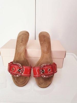 Prada Heel Pantolettes red leather