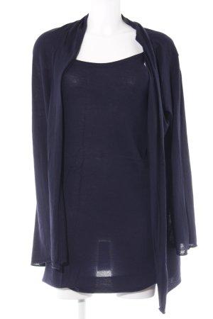 Paola Cipriani Twin set in jersey blu scuro elegante