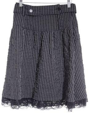 Paola Frani High Waist Rock schwarz-weiß Karomuster extravaganter Stil