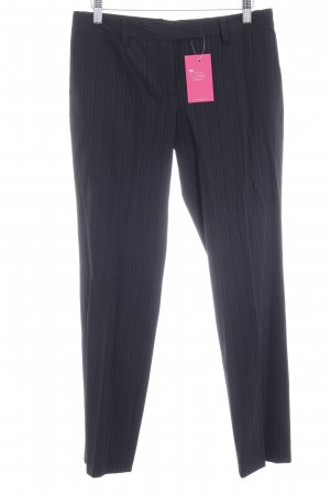 Paoloni Pantalon à pinces noir motif rayé style d'affaires