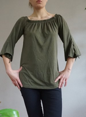 Papaya Off the shoulder top groen-grijs-khaki Rayon