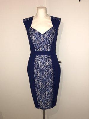 Paper Dolls Kleid Gr.38 NEU blau Etuikleid Spitzenkleid