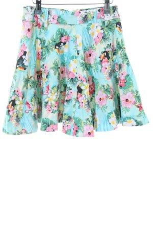 Paper heart Flared Skirt turquoise animal pattern elegant