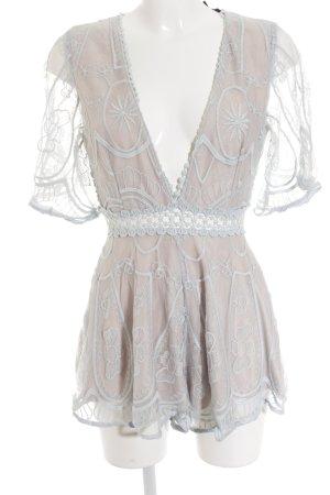 Paper heart Jumpsuit beige-himmelblau Lochstrickmuster Elegant
