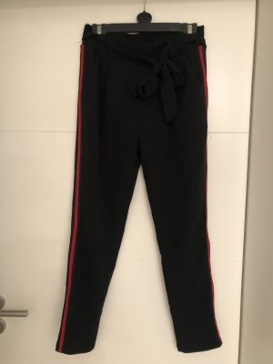 Pantalon chinos noir-rouge
