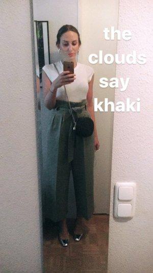 H&M High Waist Trousers green grey cotton