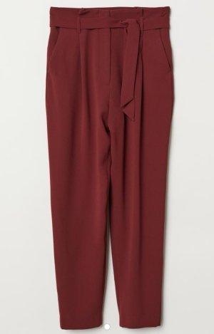 H&M Pantalón de cintura alta rojo oscuro-burdeos Poliéster
