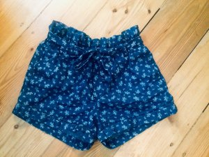 Ann Christine High-Waist-Shorts white-blue cotton