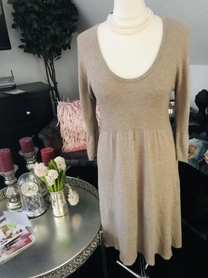 Breuninger Exquisit Wollen jurk wolwit-grijs-bruin Kasjmier