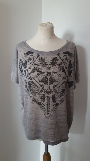 Papillonne Oversized Shirt Strickshirt mit Druck Größe 38 dunkelgrau