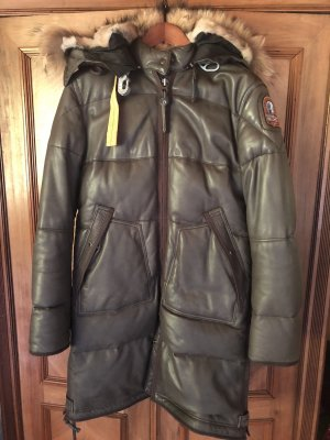 Parajumpers Cappotto in pelle marrone-grigio-marrone scuro