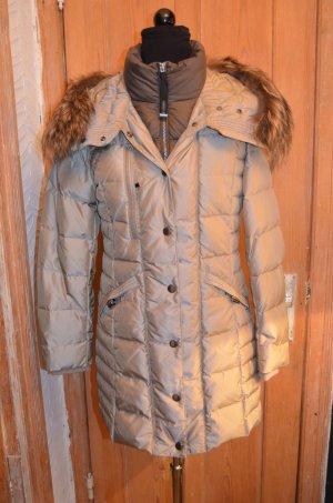 Gewatteerde jas beige-grijs-bruin Polyester