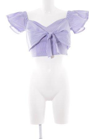 Parallel Lines Carmen-Bluse grauviolett-weiß Streifenmuster Elegant