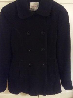 100% Fashion Wool Coat black mixture fibre