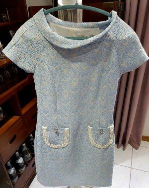 Parantez Kleid Flower Power 70er 36 S blau weiß