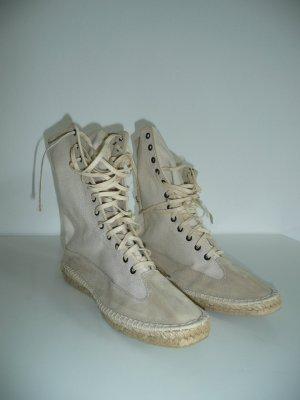 Pare Gabia stylishe Two Tone Textil Espadrilles Schnürer Sneaker beige Gr 40