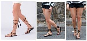 Parfois Lace Up Gladiator Sandalen Schnür Flats Troddel Fransen 38