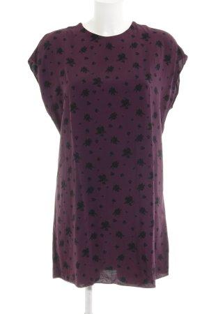Paris Atelier Kurzarm-Bluse purpur-schwarz Blumenmuster Casual-Look