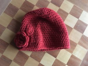 Crochet Cap red wool