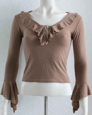 Ruche blouse bruin-grijs-bruin