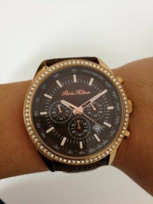 Paris hilton Montre avec bracelet en cuir doré-brun foncé