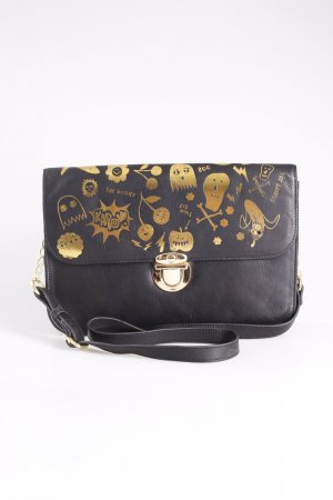 Crossbody bag black-gold-colored leather