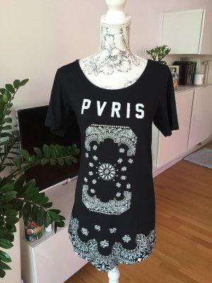 Paris Shirt Longshirt schwarz weiß Gr S