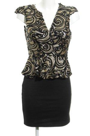 Parisian Schößchenkleid schwarz-goldfarben Paisleymuster Party-Look