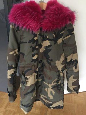 Parka camouflage Fakefur pink S