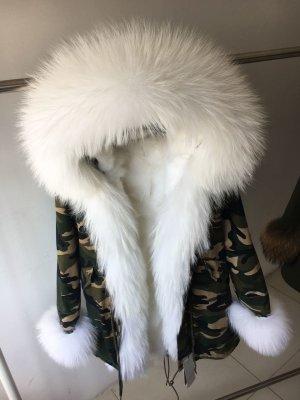 Parka camouflage khaki pelz echtfell weiß
