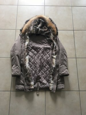 Abrigo con capucha multicolor