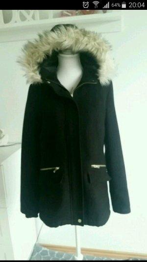 Parka - Duffle Coat schwarz mit goldenen Details