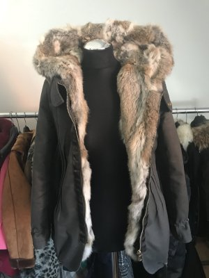 Giacca di pelliccia cachi-marrone chiaro